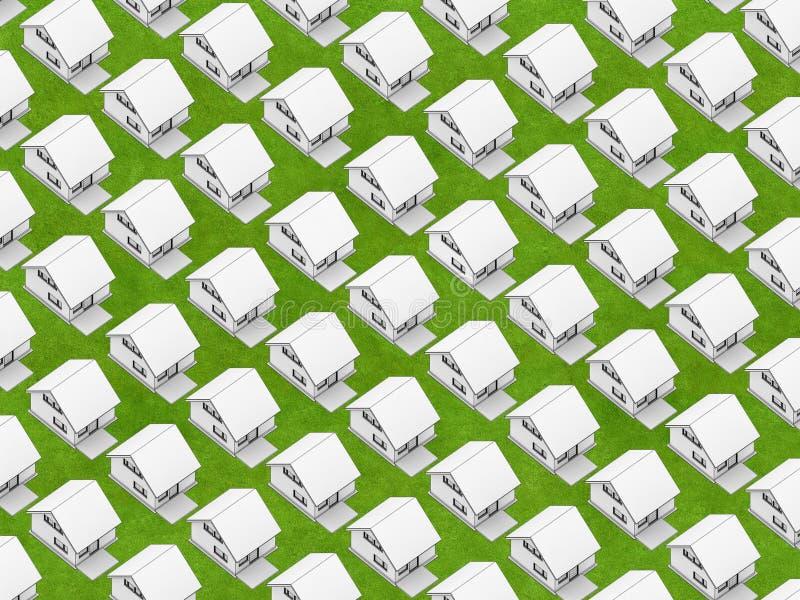 Case bianche su erba royalty illustrazione gratis