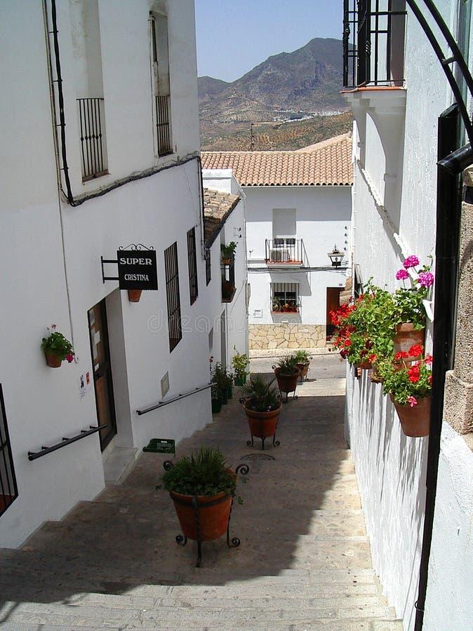 Case bianche in villaggio spagnolo immagine stock