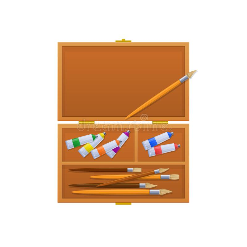 Case with brushes, multi-colored tubes with paint and markers. stock illustration