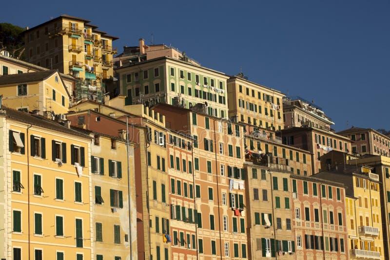 Case Colourful nel paesino di pescatori di Camogli, golfo di Paradise, parco nazionale di Portofino, Genova, Liguria, Italia fotografie stock libere da diritti