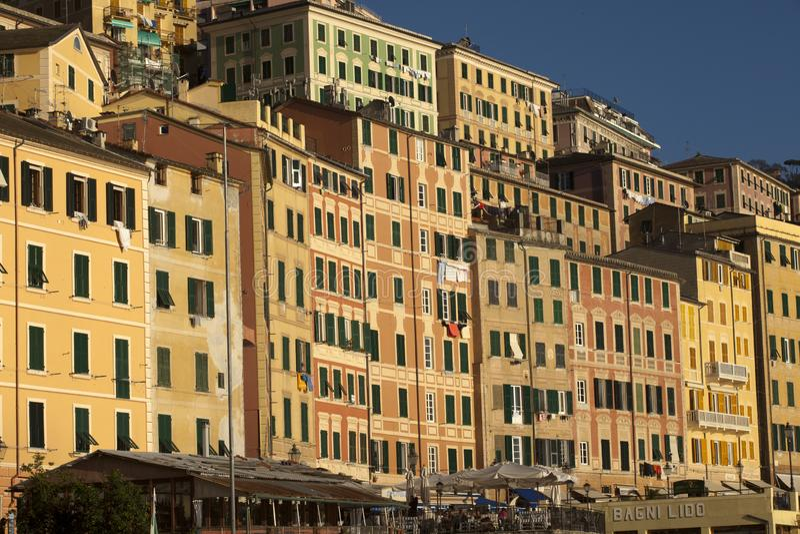 Case Colourful nel paesino di pescatori di Camogli, golfo di Paradise, parco nazionale di Portofino, Genova, Liguria, Italia immagini stock libere da diritti