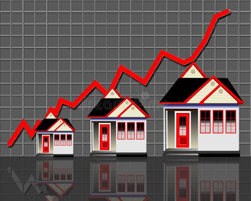 Case con la riga rossa del grafico illustrazione vettoriale