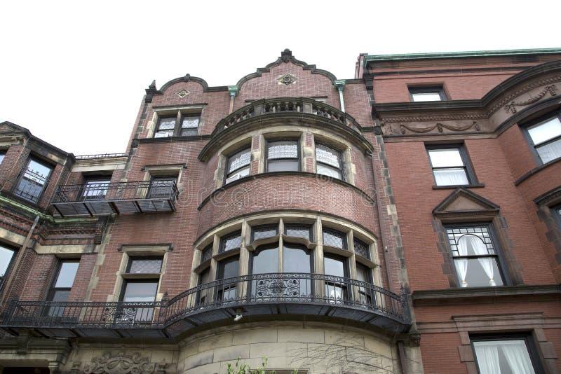 Case con mattoni a vista rosse a Boston Massachussets fotografia stock libera da diritti