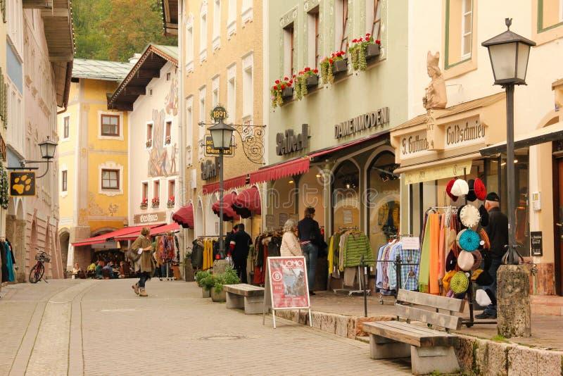 Case decorate nella vecchia città Berchtesgaden germany immagini stock libere da diritti