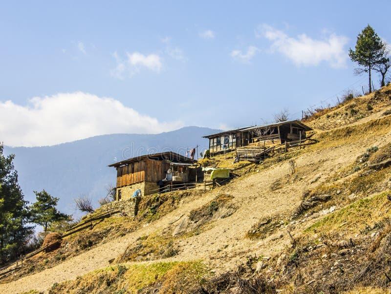 Case degli agricoltori, Bhutan immagini stock libere da diritti