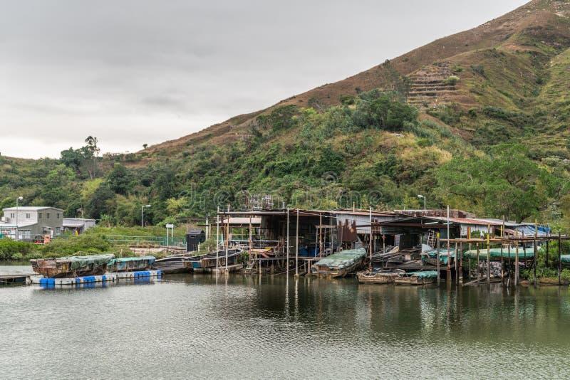 Case dei pescatori sui trampoli sul fiume del Tai O, Hong Kong China immagine stock libera da diritti