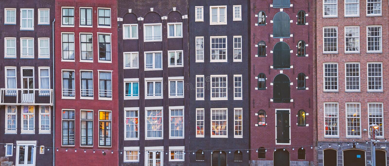 case del canale di Amsterdam fotografie stock libere da diritti