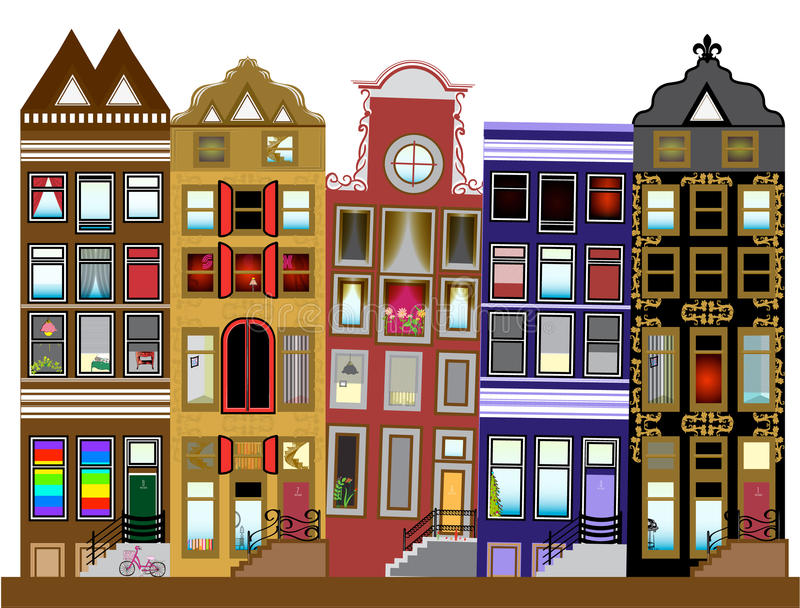Case del canale di Amsterdam, Paesi Bassi illustrazione vettoriale