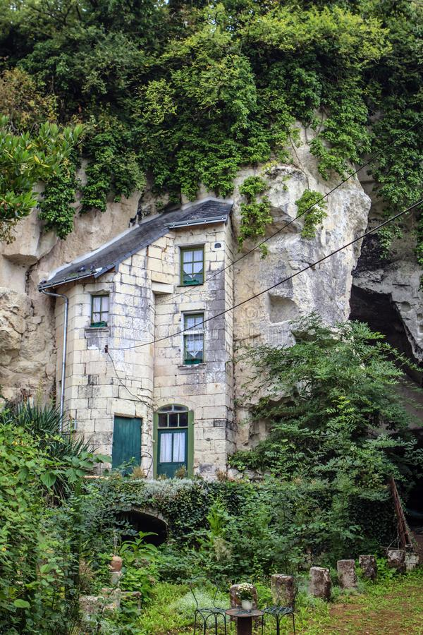 Case della caverna in Turquant, Francia fotografia stock libera da diritti
