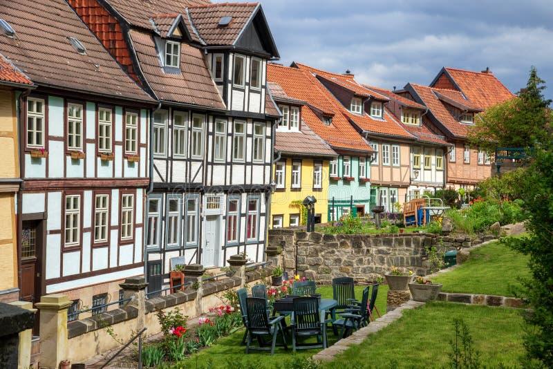 Case di città di Quedlinburg fotografia stock