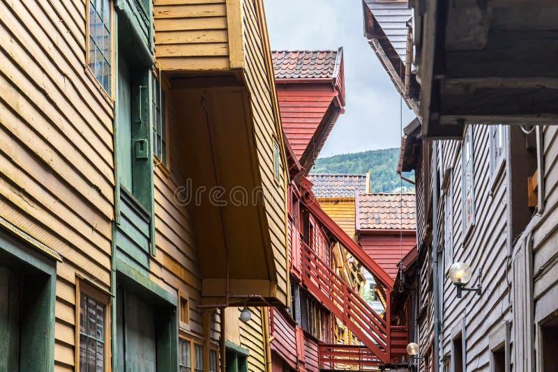 Case di Colorfull in Bryggen, Norvegia fotografia stock libera da diritti