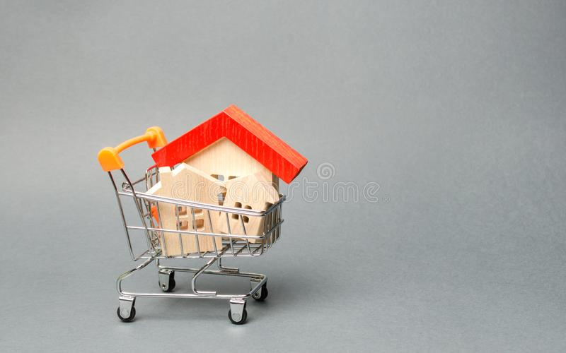 Case di legno in un carrello del supermercato Il concetto di acquisto una casa o dell'appartamento Alloggiamento acquistabile Pre fotografia stock libera da diritti