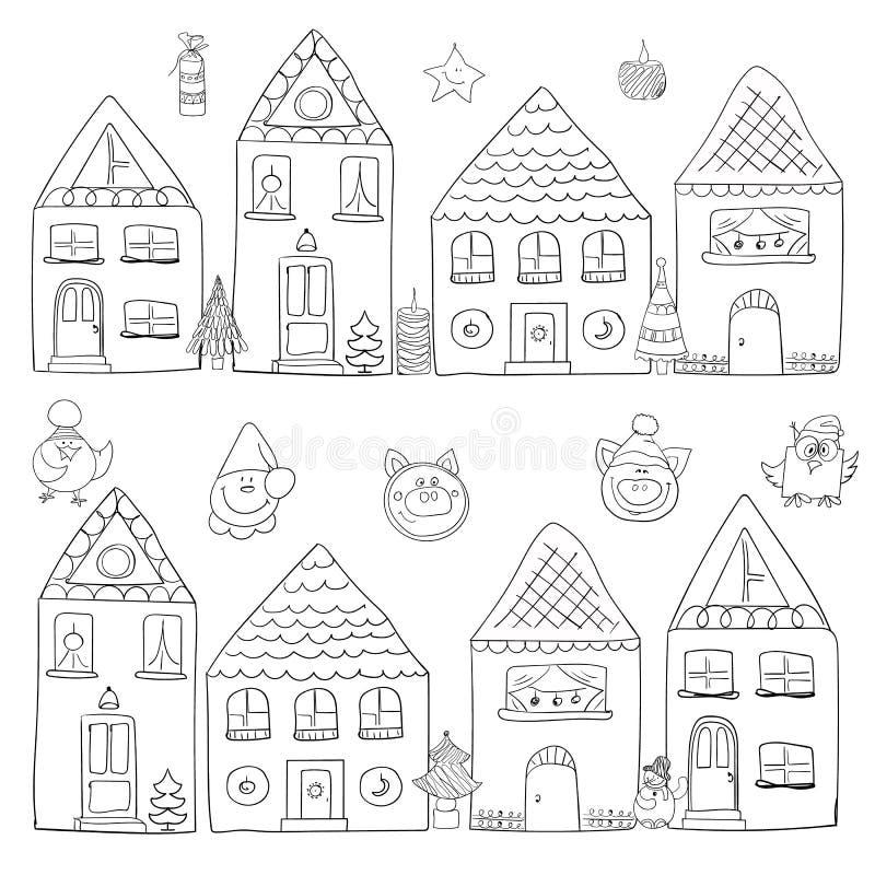 Case di Natale con il simbolo del nuovo anno royalty illustrazione gratis
