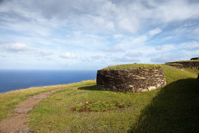 Case di pietra antiche dell'isola di pasqua fotografie stock libere da diritti