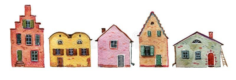 Case di pietra d'annata nella fila royalty illustrazione gratis