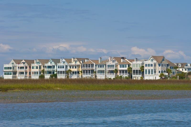 Case di spiaggia del North Carolina ICW fotografie stock libere da diritti