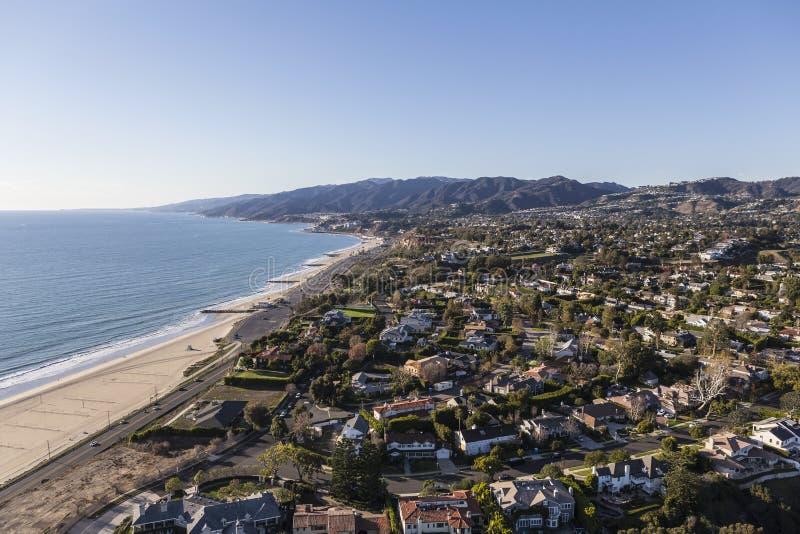Case di vista di oceano di Pacific Palisades Los Angeles fotografia stock libera da diritti