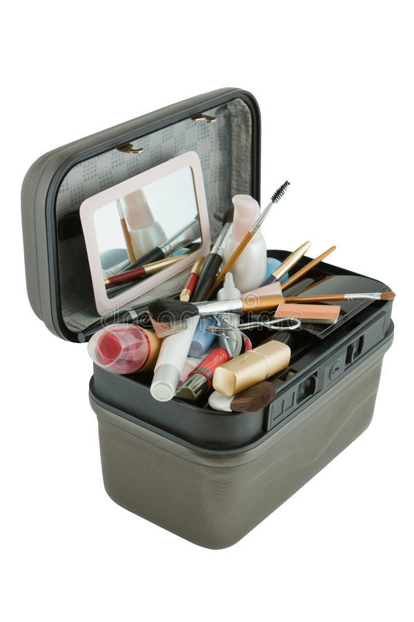 Case with different cosmetics royalty free stock photo