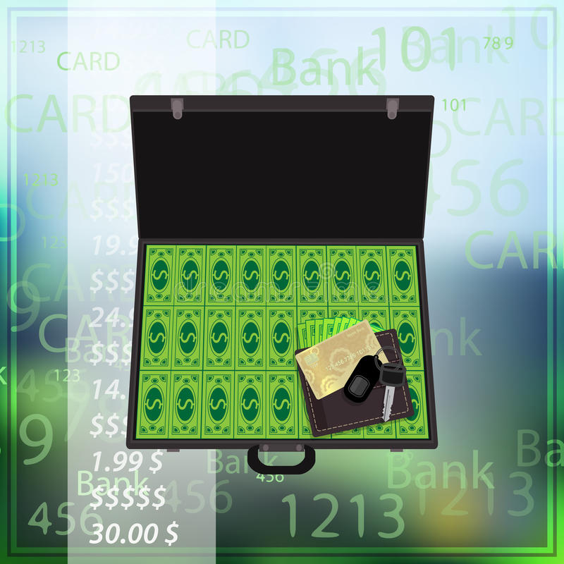 Case with dollar bank credit card photo background vector illustration