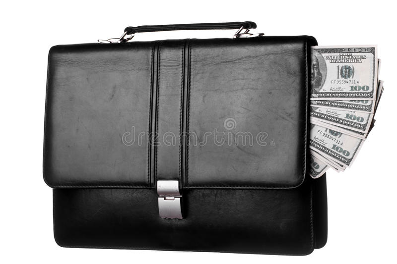 Case with dollars stock photography