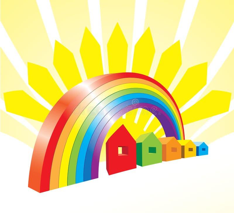 Case e Rainbow di vettore illustrazione vettoriale