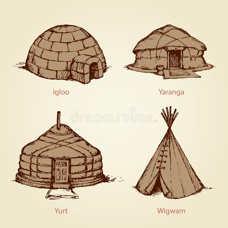 Case etniche delle nazioni differenti Illustrazione di vettore illustrazione di stock