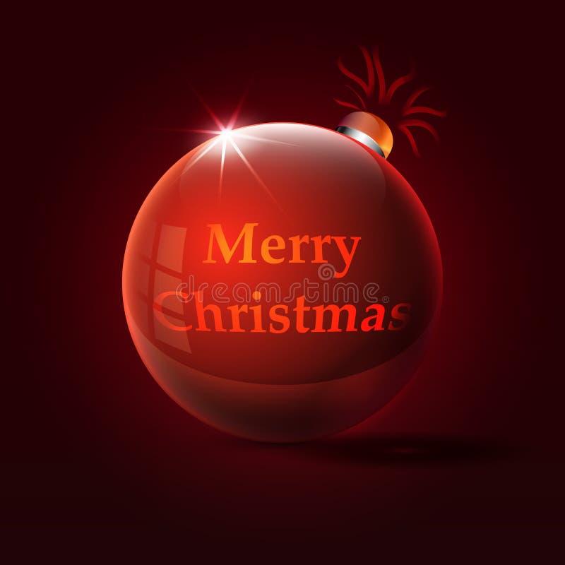 Case a inscrição do Natal no brinquedo vermelho do Natal ilustração royalty free