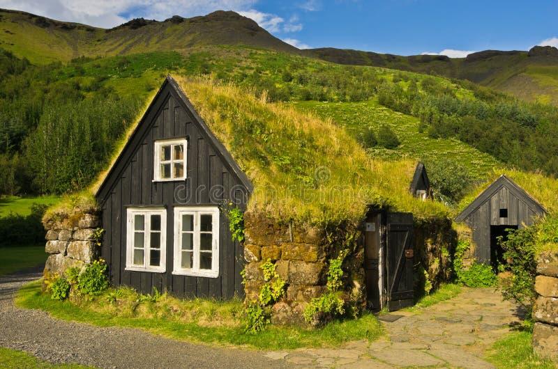 Case islandesi tradizionali a Skogar fotografia stock