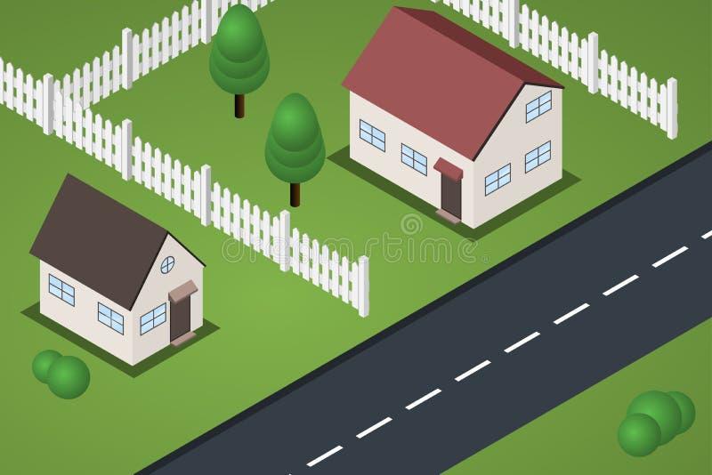 Case isometriche piane del sobborgo con i prati inglesi illustrazione vettoriale