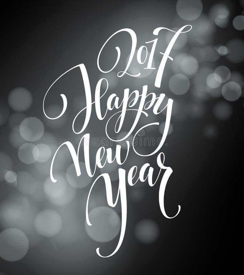 Case las letras 2017 de la Navidad y de la Feliz Año Nuevo Ejemplo del vector de la Navidad con el bokeh realista stock de ilustración