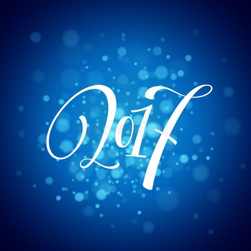 Case las letras 2017 de la Navidad y de la Feliz Año Nuevo Ejemplo del vector de la Navidad con el bokeh realista libre illustration