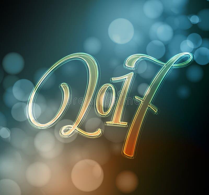 Case las letras 2017 de la Navidad y de la Feliz Año Nuevo Ejemplo del vector de la Navidad con el bokeh realista, luces libre illustration