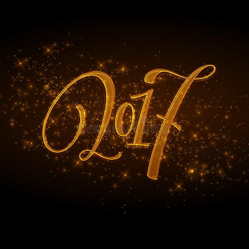 Case las letras 2017 de la Navidad y de la Feliz Año Nuevo vector el ejemplo con el bokeh realista, fondo de las luces ilustración del vector