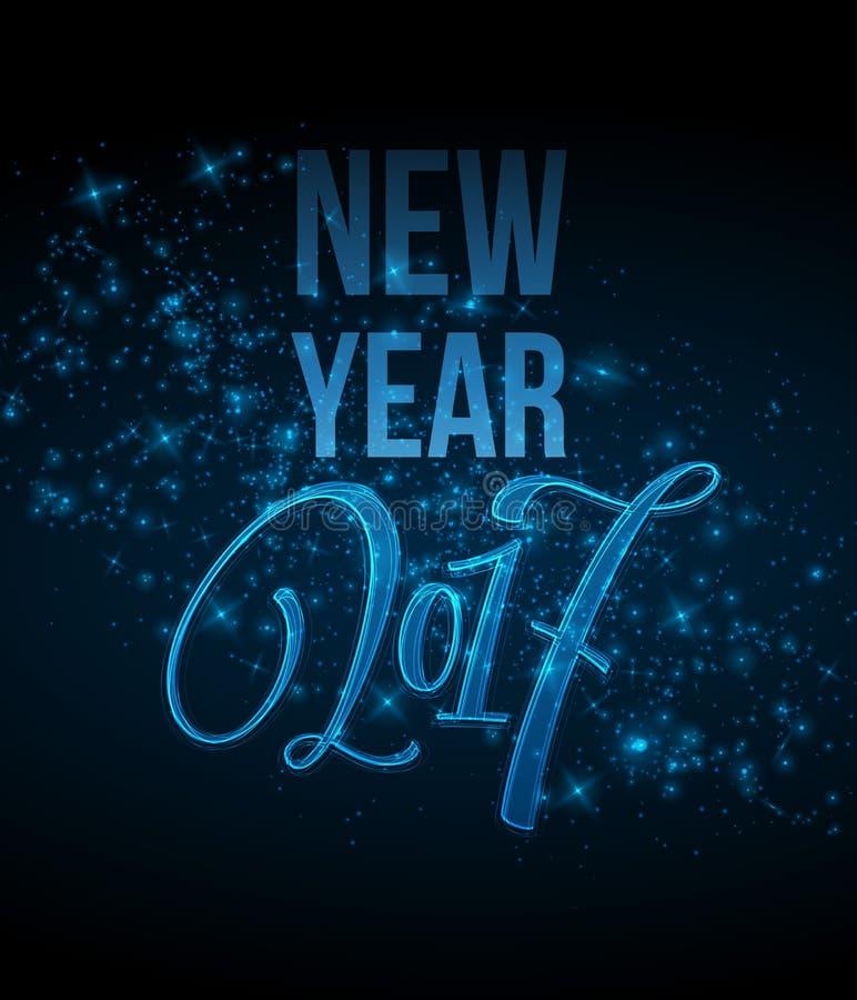 Case las letras 2017 de la Navidad y de la Feliz Año Nuevo vector el ejemplo con el bokeh realista, fondo de las luces stock de ilustración