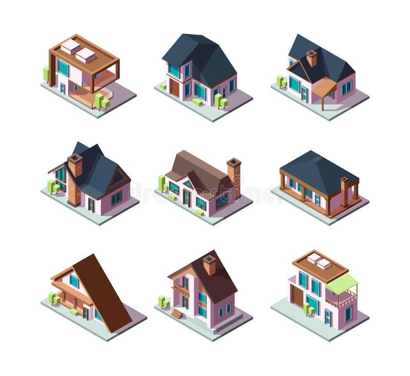 Case moderne private Modelli residenziali della città delle illustrazioni isometriche di poli vettore basso miniatura 3d delle co illustrazione di stock