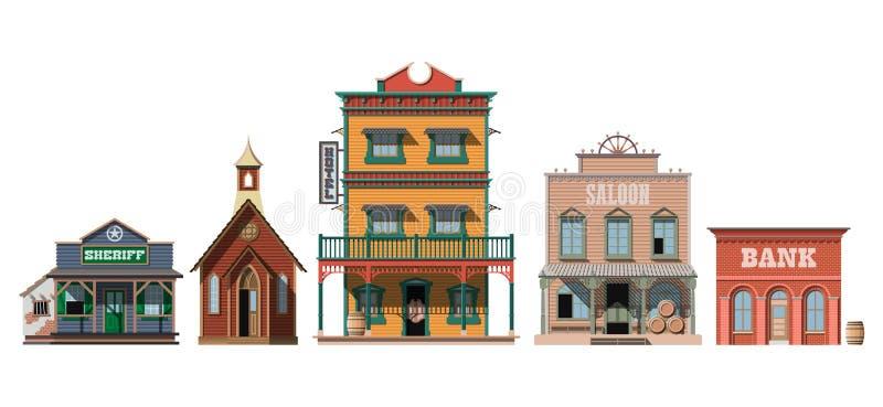 Case occidentali isolate su fondo bianco illustrazione di stock