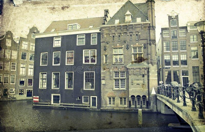 Case olandesi tradizionali del canale immagine stock