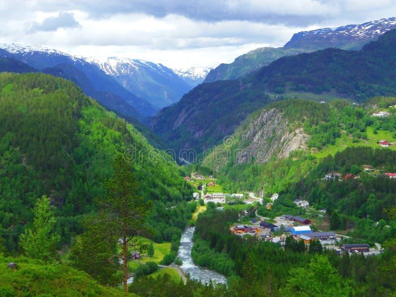 Case, piante e belle montagne, Norvegia fotografia stock libera da diritti