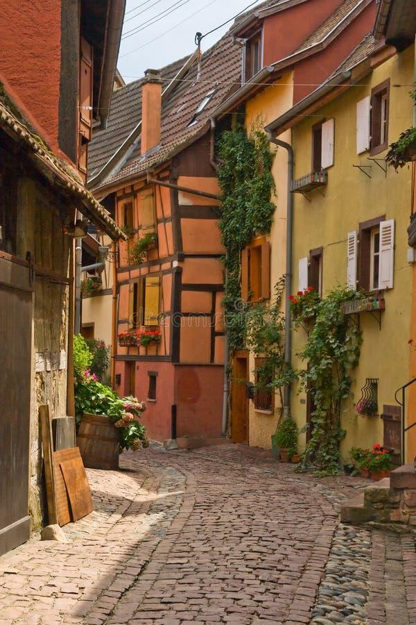 Case rafforzate nell'Alsazia, Francia fotografia stock