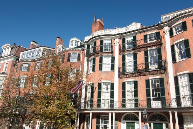 Case a schiera di Beacon Hill a Boston, Massachusetts fotografia stock libera da diritti
