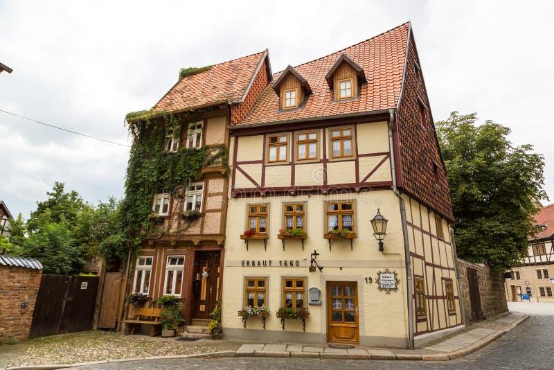Case storiche in Quedlinburg, Germania immagini stock