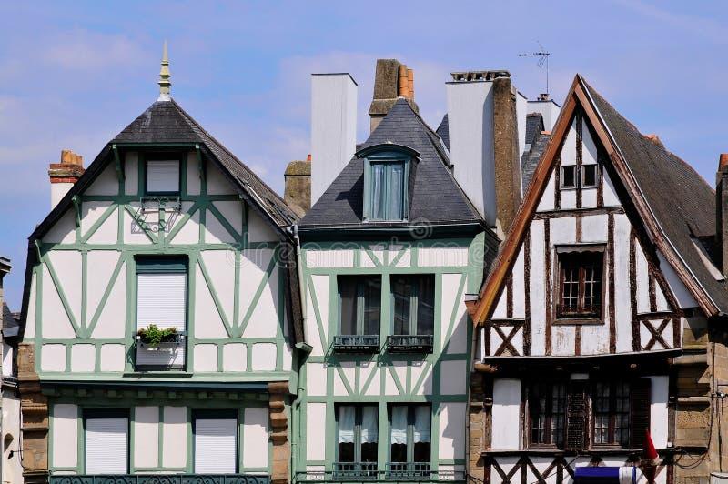 Case tipiche di Auray in Francia immagine stock