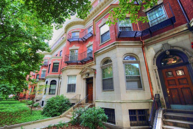 Case tipiche di Boston nel centro storico fotografie stock libere da diritti