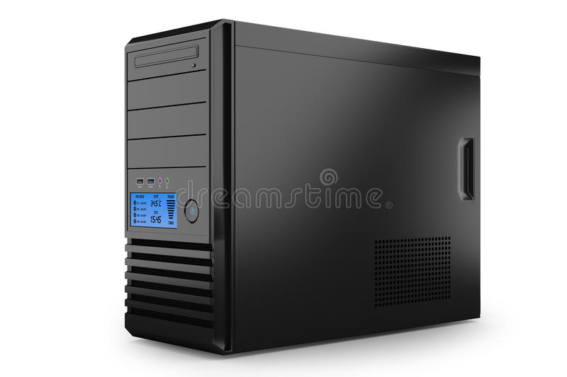 Case tower desktop home PC. Workstation computer. Server vector illustration