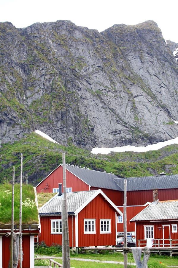 Case tradizionali in Lofoten, Norvegia immagine stock libera da diritti