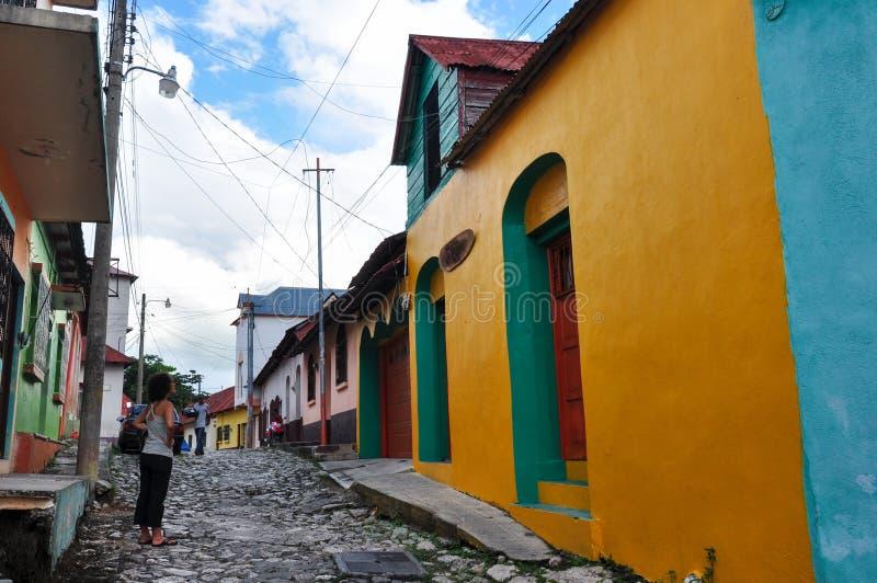 Case variopinte del Flores, Guatemala immagine stock