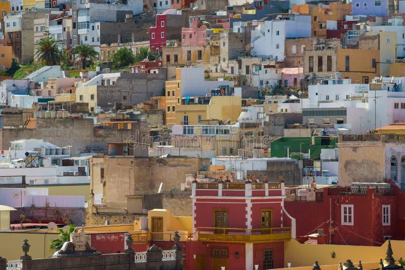 Case variopinte del Las Palmas, Gran Canaria, Spagna immagini stock libere da diritti