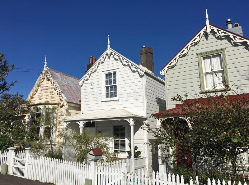 Case vittoriane a Auckland Nuova Zelanda fotografia stock libera da diritti