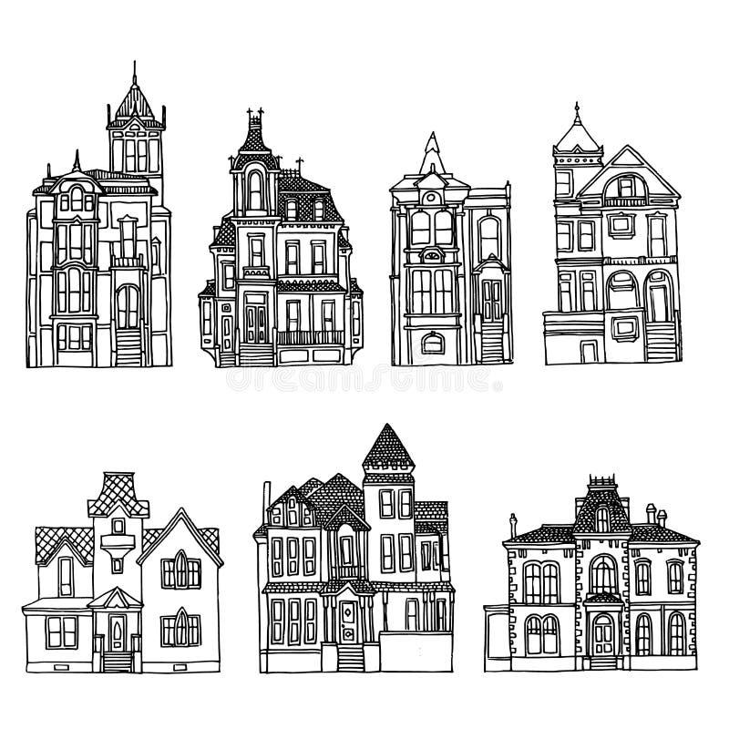 Case vittoriane messe Schizzi d'inchiostrazione disegnati a mano di architettura fotografia stock