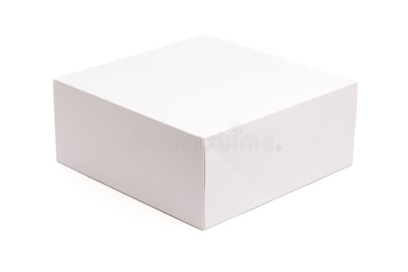 Casella bianca in bianco isolata su bianco immagine stock